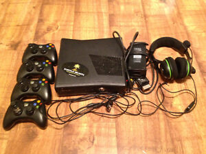 Xbox 360, 4 Controllers and a Charger, 15 Games, and a Headset