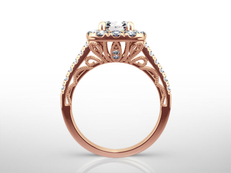 Diamond Ring Halo Accented 1.75 Ct Si1 Womens 4 Prong Estate 14k Rose Gold Red