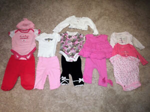 Baby girl outfits, 3-6 months, 13-piece lot, EUC