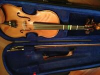 1/2 Size Violin with bow, case and rest