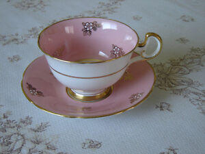 Adderley 141 D white gold flower pink cup and saucer GUC (1E)