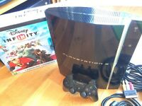 PlayStation 3 80GB with 1 controller, leads and Disney Infinity Starter Pack