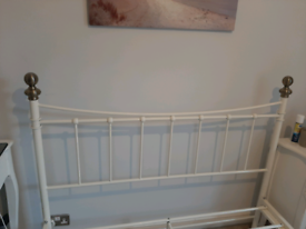 Cream/Brass Metal Double Bed