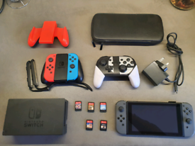 Sold! Nintendo Switch, 3 controllers, 5 games