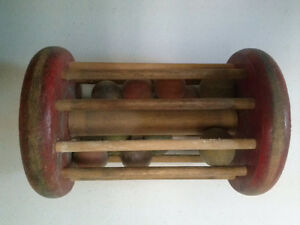 Wooden Rattle with spindles and balls, Antique