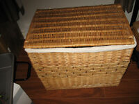 BEAUTIFUL WICKER COVERED BASKET