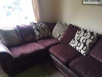 Chocolate brown DFS corner sofa with matching storage footstool