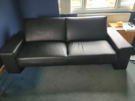 Black leather style sofa bed - CHEAP!