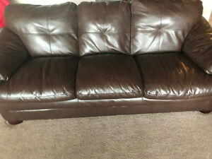 Burgundy/brown couch and chair
