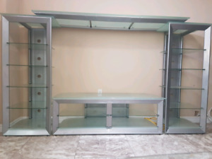 Silver Color Contemporary Tv Stand with Glass Shelves