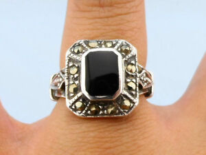 Vintage Onyx Marcasite .925 Silver Ring, Size 6 1/2