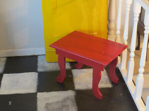 "Red Solid Wood Side Table ""HFX Hoarders and Collectors"""