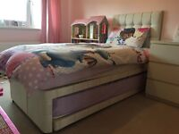 Single divan bed with guest bed & head board (mattresses not included)