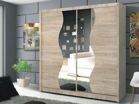 Brand New Tokyo Sliding Door German Wardrobe in Oak / Wenge (Dark Brown) Colors