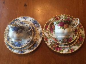 "Royal Albert Bone China ""Old Country Roses"" and ""Moonlight Rose"""