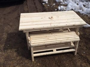 outdoor kids buffet table and benches