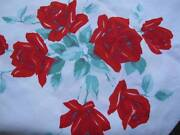 Vintage Red Rose Tablecloth
