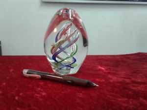 Vintage large glass paperweight.