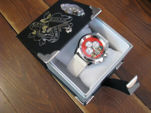 Ed Hardy Dragster Mens Watch White Band/Red Dial/reduced