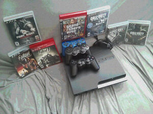 PS3 Console /w 3 Controllers and 7 FREE GAMES OBO