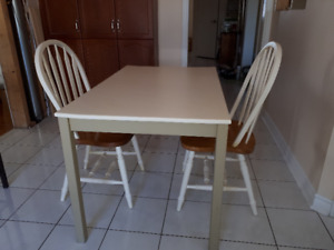 Ikea Painted  Kitchen table and two chairs: Solid Wood