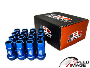 BLOX RACING BLUE ALUMINUM OPEN EXTENDED LUG NUTS 12X1.5 16 PIECES HONDA ACURA