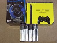 Playstation PS2 with Steering Wheel & 13 Games