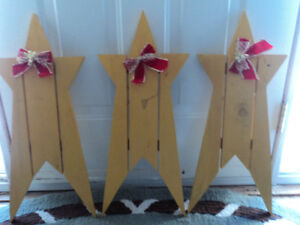 Three Wooden Christmas Stars