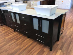 """72"""" Solid Wood Modern Vanity and Quartz Counter Top"""