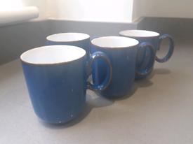 4 Denby Imperial Blue Coffee Mugs