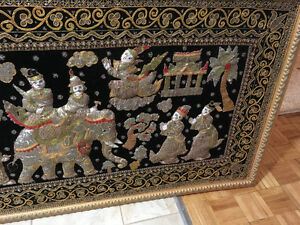 Antique gorgeous framed tapestry from India