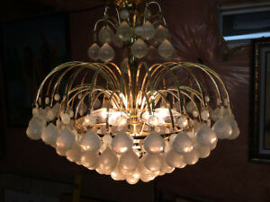 Gold Faux Crystal Chandelier - Stunning!