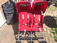 Maclaren double twin pushchair with raincover