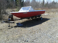 "Fibre Glas ""Project Boat"" With Motor, Tank and Trailer"