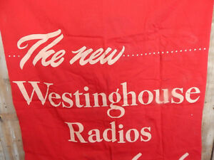 Large Vintage Westinghouse Radio Advertising Banner Moose Jaw Regina Area image 2