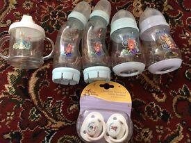 Peter rabbit bottles and beaker
