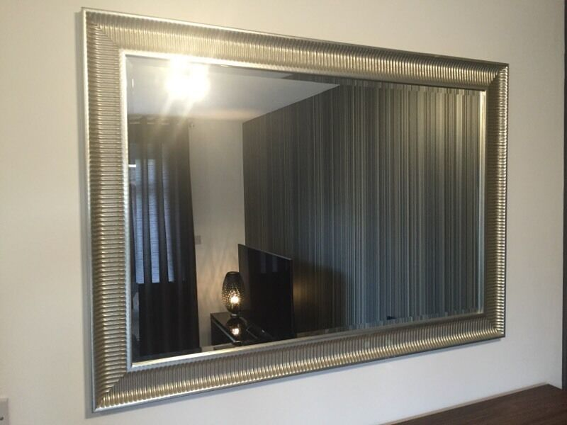 Ikea songe large silver framed wall mirror in coventry for Big silver mirror