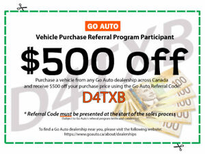 $500 Off Vehicle Purchase with GO AUTO Referral Code: D4Txb