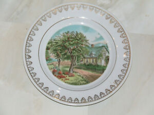 Collector's plate made in Japan with Currier and Ives scene