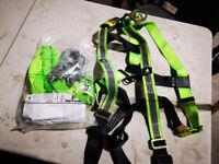 Brand new safety harness and lanyard