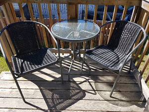 Set of Patio chairs (2) and Small Round glass-top table