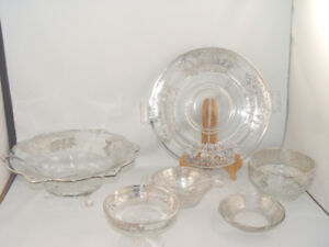 Antique Depression Glass Dish Lot Sterling Silver Overlay 1950