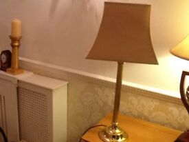 BEAUTIFUL SOLID BRASS LAMP WITH QUALITY GOLD SHADE