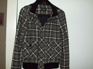 WOMEN'S GREY PLAID BOMBER JACKET Sarnia Sarnia Area image 1