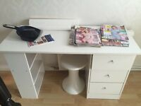White desk with stool (chair table draws)