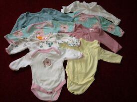 Newborn baby girl clothes bundle - 37 items