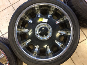 SET OF FOUR RIMS & TIRES WITH CABS 265/40R22