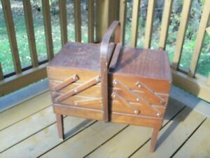 Vintage Accordion Fold-Out Wood Sewing Chest-- LARGE size!