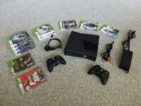 Black XBOX 360 Slim with 2 Controllers, Headset plus 11 Games
