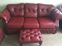 Chesterfield sofa with chairs and foot stool